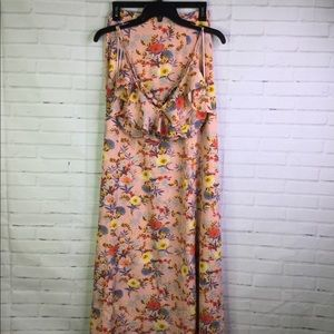 Hommage Sz S Crop Top & Long Skirt Set Pink Floral